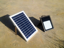 Mini solar cells head up to sun light Royalty Free Stock Image