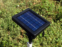 Mini solar cells head up to sun light Royalty Free Stock Photography