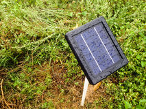 Mini solar cells head up to sun light after rainy Stock Photo