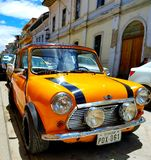 Mini in south America. Ecuador cuenca car orange Royalty Free Stock Images