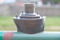Mini statua statek Carpathia w Uzhgorod Zdjęcie Stock