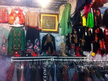 A mini store for Chinese traditional clothes Royalty Free Stock Photos