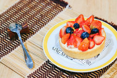 Mini strawberry pie. In dish Royalty Free Stock Photo