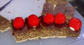 Mini strawberry  pie. strawberry  cream cake desserts for a party Royalty Free Stock Photos