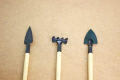 Mini strumenti di giardino sul bordo di legno Fotografia Stock Libera da Diritti