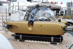 Mini submarine. Details of a small mini submarine or submersible craft Stock Image