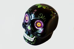 Mini Sugar Skull Front View nero fotografia stock
