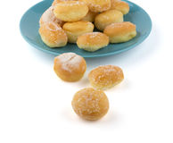 Mini sugary donuts in blue dish Royalty Free Stock Photography