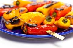 Mini Sweet Peppers asado a la parrilla Foto de archivo libre de regalías