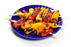 Mini Sweet Peppers asado a la parrilla Imágenes de archivo libres de regalías
