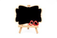 Mini tableau noir de chevalet en bois, l'espace vide pour le texte Photographie stock libre de droits