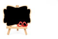 Mini tableau noir de chevalet en bois, l'espace vide pour le texte Images stock