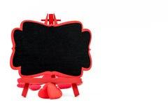 Mini tableau noir de chevalet en bois, l'espace vide pour le texte Photos stock