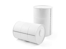 Mini tambor decorativo do metal branco isolado no branco Imagem de Stock Royalty Free