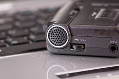 Mini Tape Recorder Microphone Stock Photo
