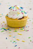 Mini tart with color ornaments Royalty Free Stock Images