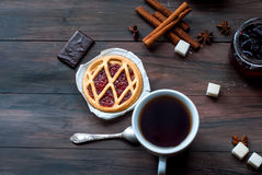 Mini tart with jam and a cup of coffee Royalty Free Stock Photography