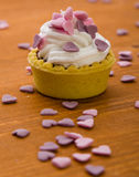 Mini tart with pink hearts Royalty Free Stock Photo