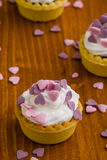 Mini tart with pink hearts Stock Images