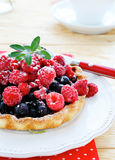 Mini tart with raspberries and currants Royalty Free Stock Photography
