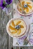 Mini tarta con el relleno, el melocotón y los arándanos del queso cremoso Foto de archivo libre de regalías
