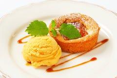 Mini tarta de la manzana con helado Fotos de archivo libres de regalías