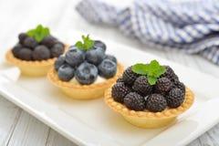 Mini tarta z świeżymi jagodami Zdjęcie Royalty Free