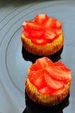 Mini tartas de los pasteles de queso de la fresa Fotografía de archivo