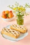 Mini tarte rustique d'abricot sur une table d'été photo libre de droits