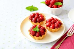 Mini tartes avec des fruits de framboises Photos libres de droits