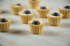 Mini tartlets com mirtilo Foto de Stock Royalty Free