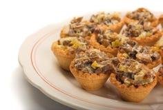 Mini tartlets de la seta Fotografía de archivo