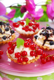 Mini tartlets with whipped cream and fresh fruits Royalty Free Stock Images