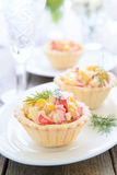 Mini tarts with crab salad for holiday Stock Photos