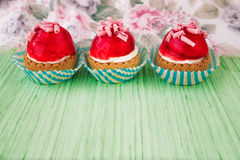 Mini tarts with cream filling and berry glaze Stock Photography