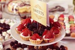 Mini tarts with fruits Stock Image