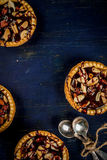 Mini tarts with nuts and caramel Royalty Free Stock Photography