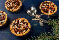 Mini tarts with nuts and caramel Stock Image