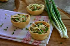 Mini tarts with onion and cheese Stock Photography