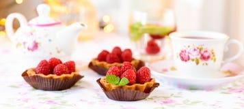 Mini tarts with raspberries fruits Stock Photo