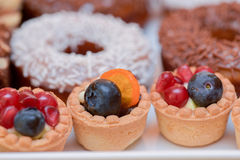Mini tarts with vanilla cream, blueberries and pomegranate Royalty Free Stock Photos