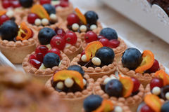 Mini tarts with vanilla cream, blueberries, redcurrants and pome Stock Images
