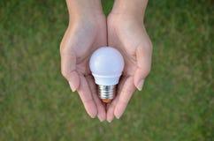 Mini tecnologia di risparmio della lampadina del LED in nostra mano royalty illustrazione gratis