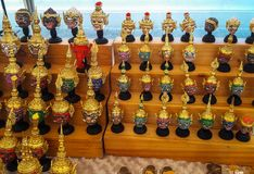Mini Thai actor`s mask on the shelf for sell , Royalty Free Stock Images
