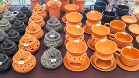 Mini Thai style earthenware for sell with price tag , Stock Image
