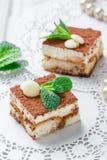 Mini tiramisu de las tortas con el chocolate, el cacao y los caramelos blancos en cierre ligero del fondo para arriba Barra delic Fotos de archivo libres de regalías