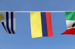 Mini tkanina poręcza flaga Kolumbia w Tricolor Nacional koloru żółtego, błękitnego i czerwonego koloru obwieszeniu na linowym płó Obraz Royalty Free