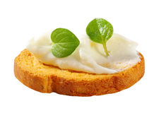 Mini toast with cream cheese Royalty Free Stock Image