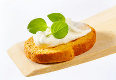Mini toast with cream cheese Royalty Free Stock Photo