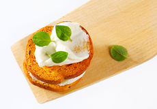 Mini toasts with cream cheese Royalty Free Stock Photo